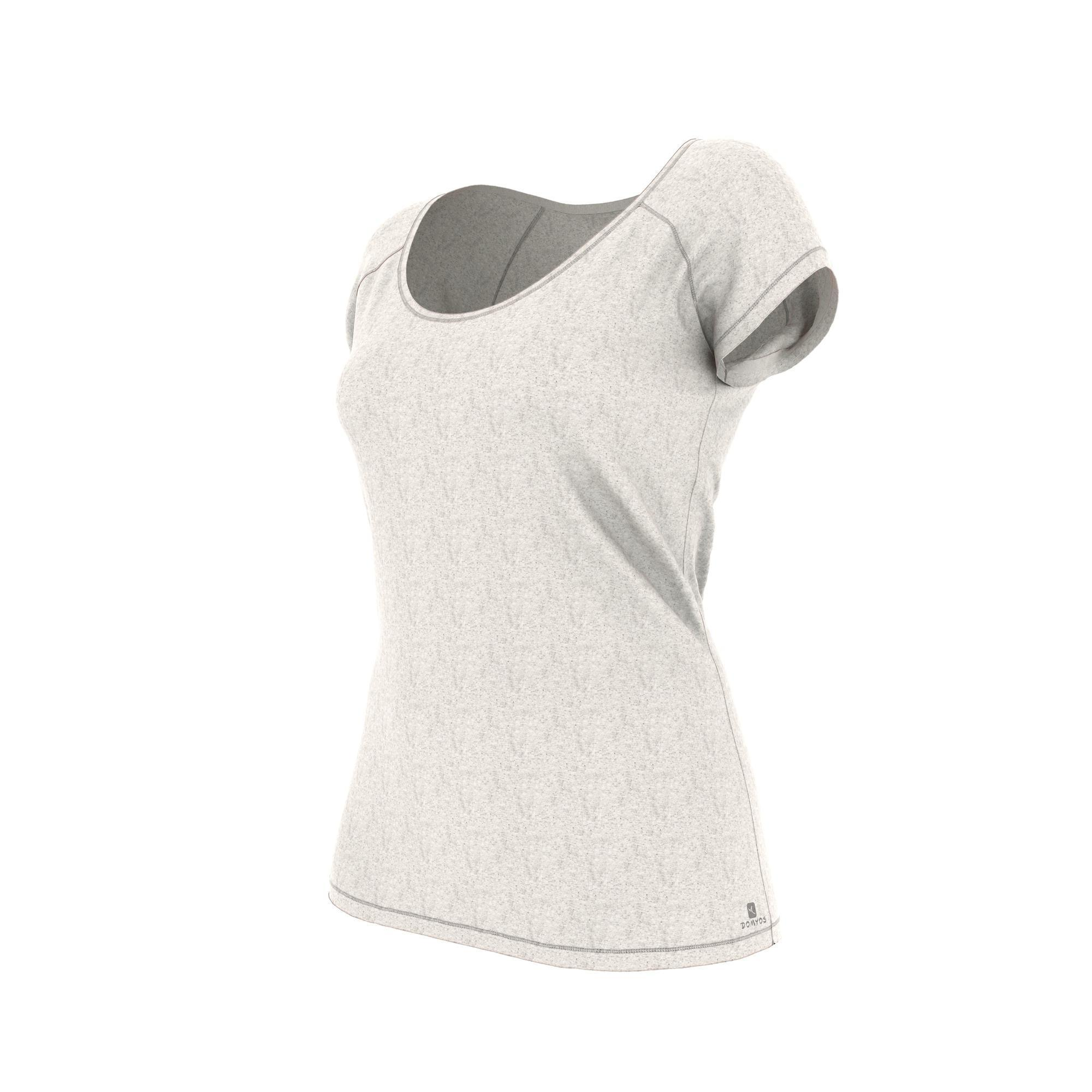 Domyos Dames T-shirt 500 voor gym en pilates slim fit beige