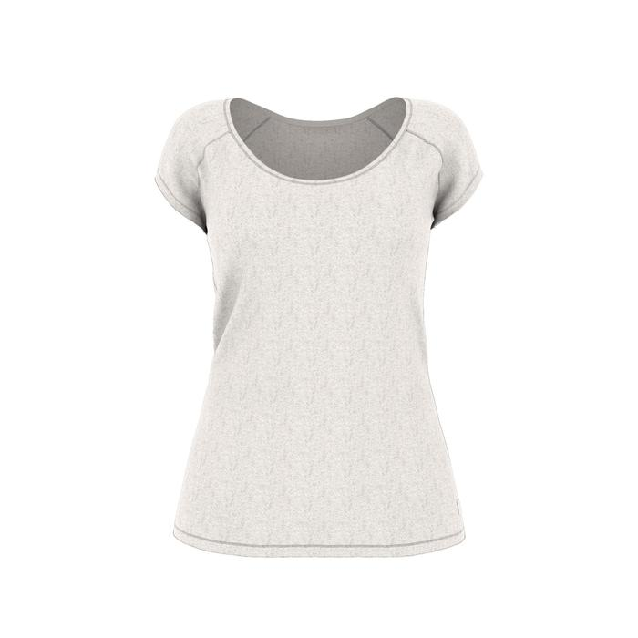 Camiseta 500 Slim gimnasia y pilates mujer beige