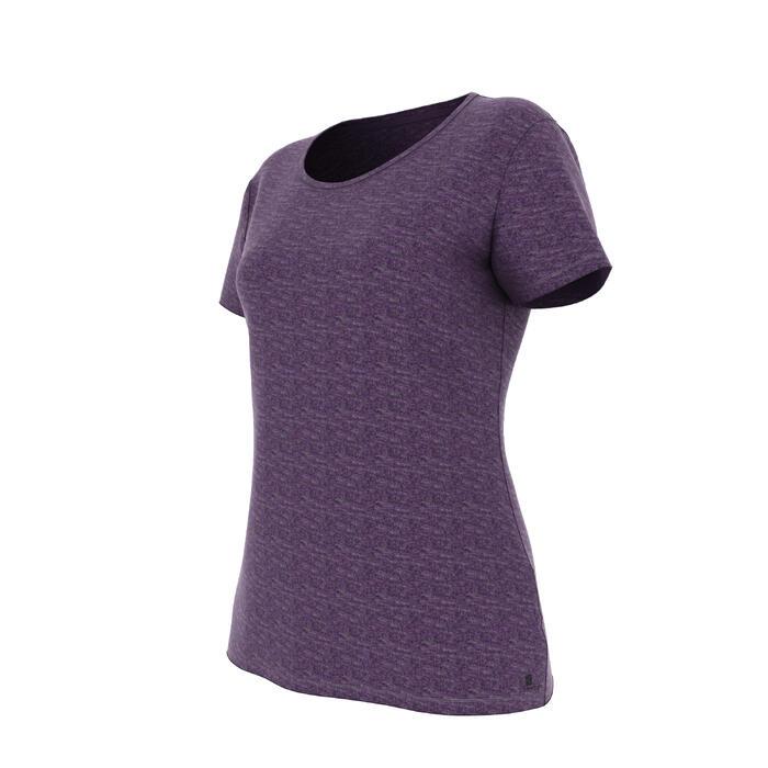 Dames T-shirt 500 voor gym en pilates regular fit paars