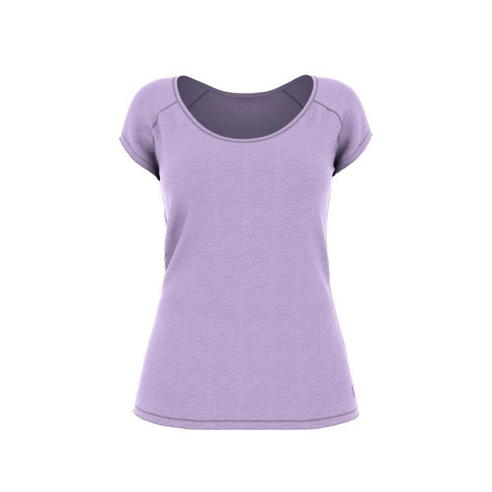Dames T-shirt 500 voor gym en pilates slim fit lichtpaars