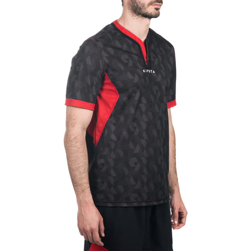 R500 Adult Reversible Rugby Jersey Black Red