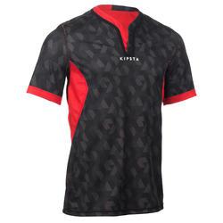 Jersey Rugby Dapat Dibalik Dewasa R500 - Hitam/Merah