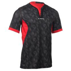 Camiseta de rugby reversible adulto R500 negro/rojo