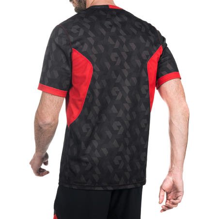 Adult Reversible Rugby Jersey R500 - Black/Red