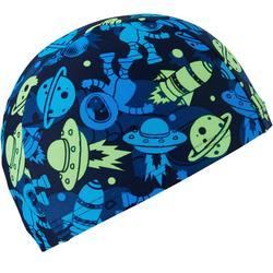 Stoffen badmuts textiel print maat S Astro blauw/groen