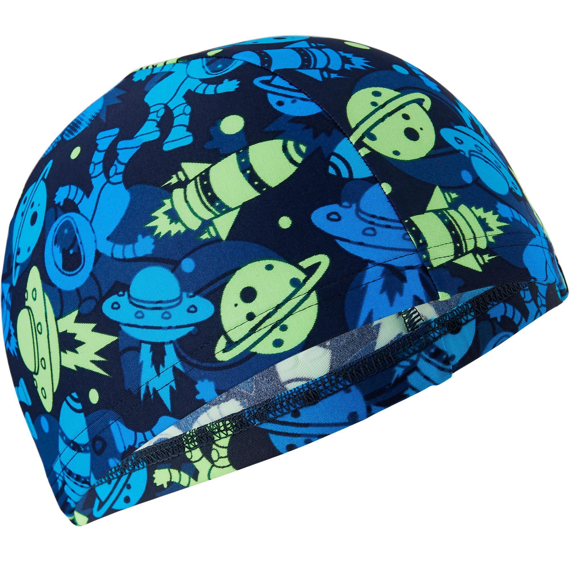 Nabaiji Stoffen badmuts textiel print maat S Astro blauw/groen