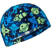 Zelena in modra mrežasta plavalna kapa s potiskom (velikost S)