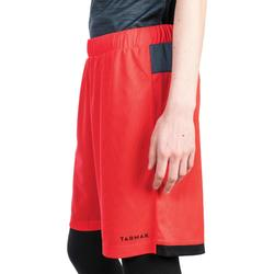 Basketballshorts SH500 Damen Fortgeschrittene rot/schwarz/grau