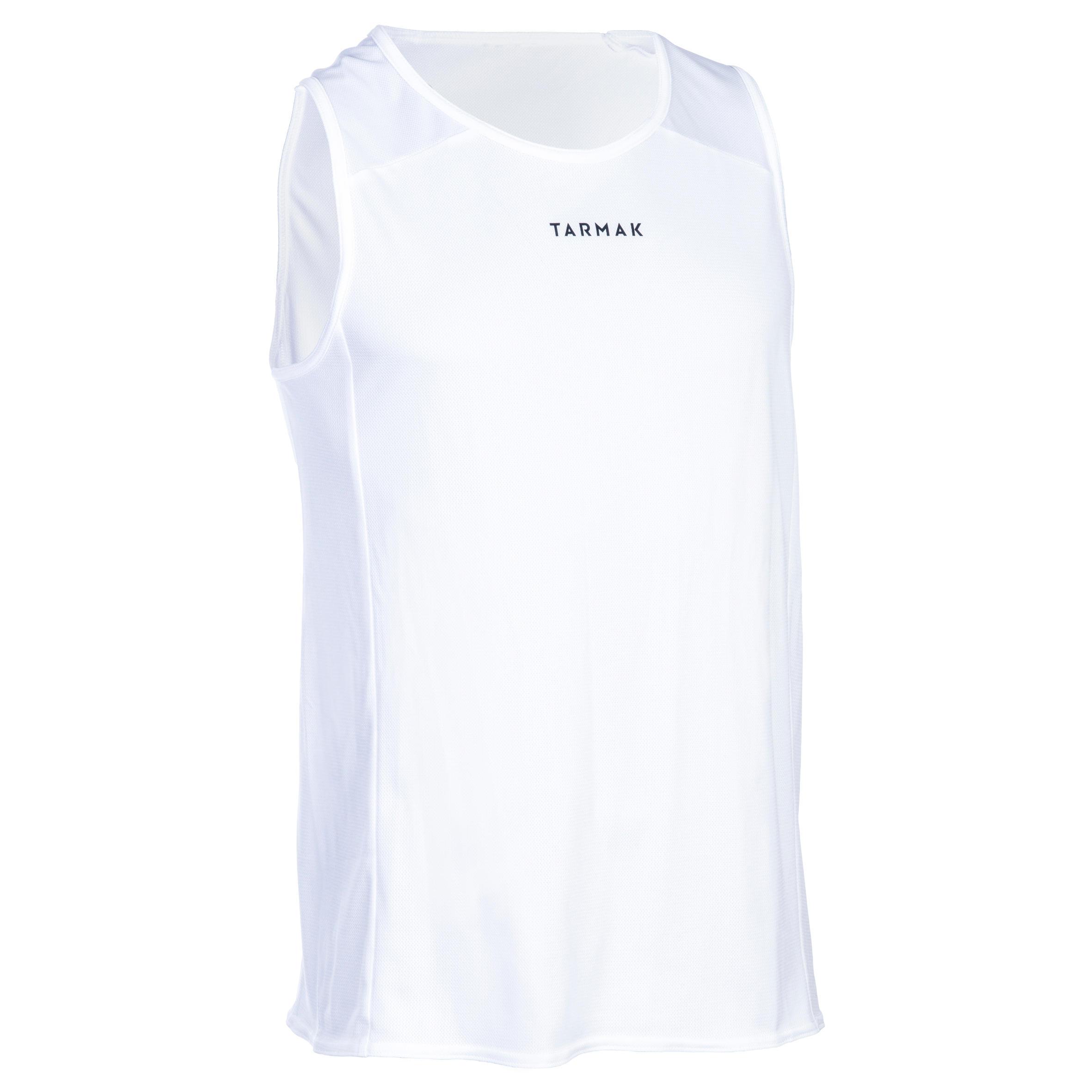 Tarmak Mouwloos basketbalshirt voor beginnende heren/dames T100 wit