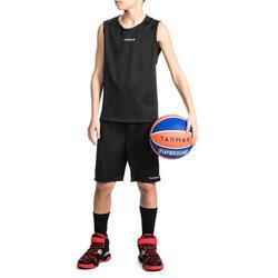 Basketballtrikot T100 Kinder Jungen/Mädchen Einsteiger schwarz