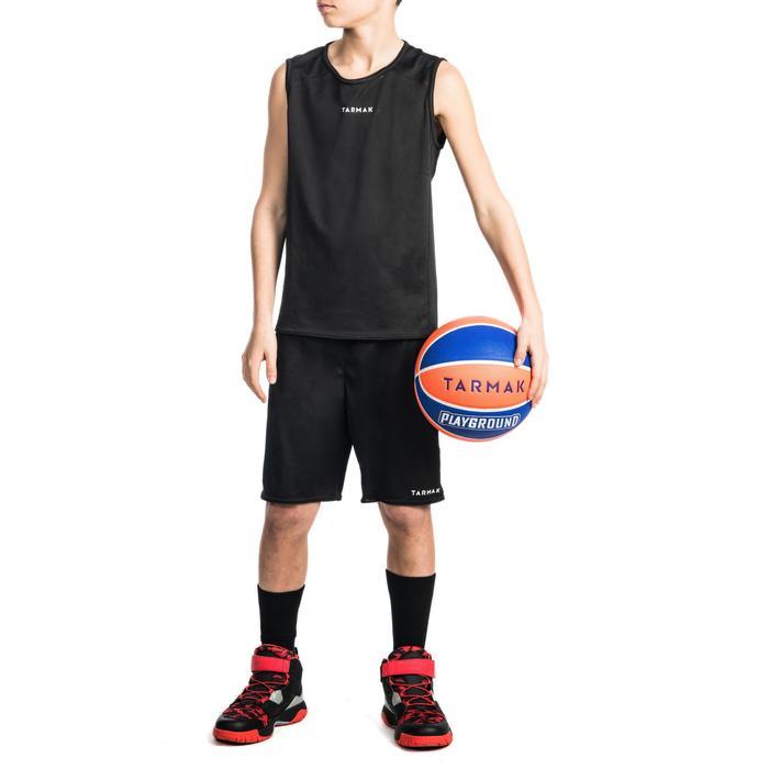 Mouwloos basketbalshirt T100 voor beginnende jongens en meisjes zwart