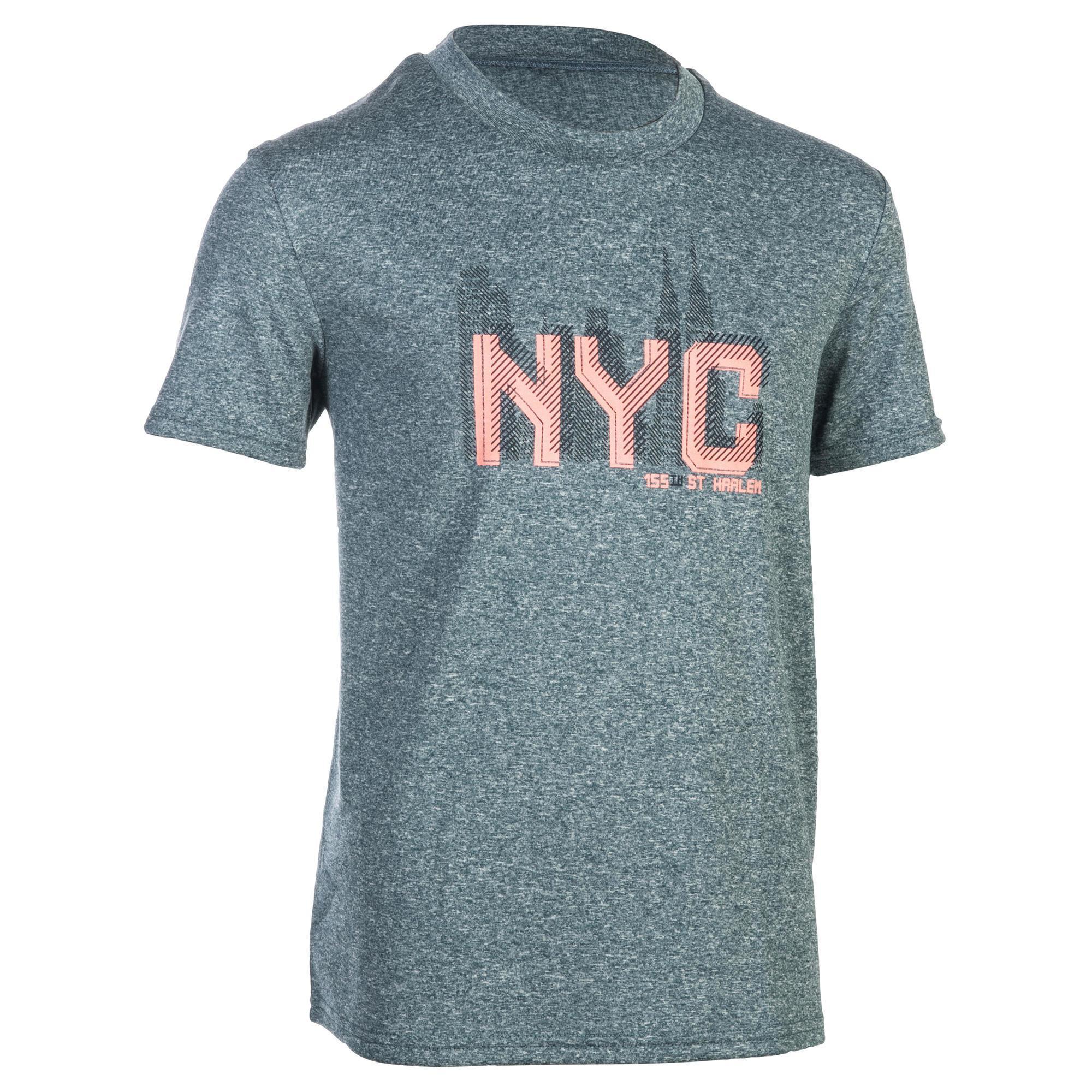 Tarmak Basketbal T-shirt Fast jongens/meisjes halfgevorderden blauw grijs NYC
