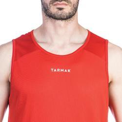 Mouwloos basketbalshirt voor beginnende heren T100 rood