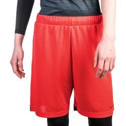 SHORT SH500 DE BASKETBALL FEMME POUR CONFIRMEE ROUGE NOIR GRIS