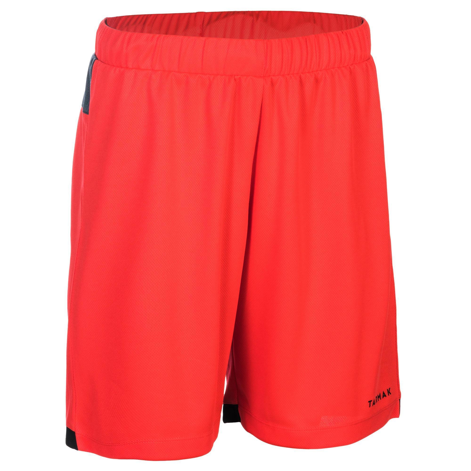 Basketballshorts SH500 Damen Fortgeschrittene rot/schwarz/grau | Sportbekleidung > Sporthosen > Basketballshorts | Rot - Grau - Blau - Schwarz | Tarmak