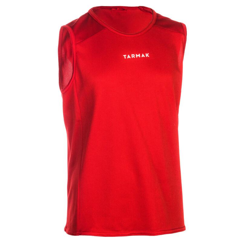 Mouwloos basketbalshirt voor beginnende jongens/meisjes rood T100