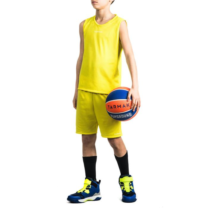 Mouwloos basketbalshirt T100 voor beginnende jongens en meisjes geel