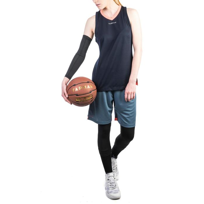 Mouwloos basketbalshirt T500 voor halfgevorderde dames marineblauw roze