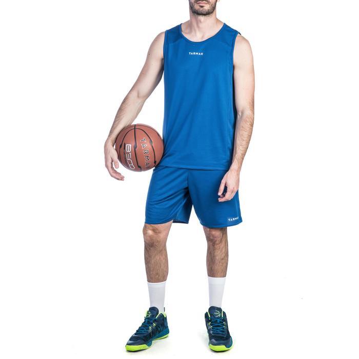 Mouwloos basketbalshirt voor beginnende heren T100 blauw