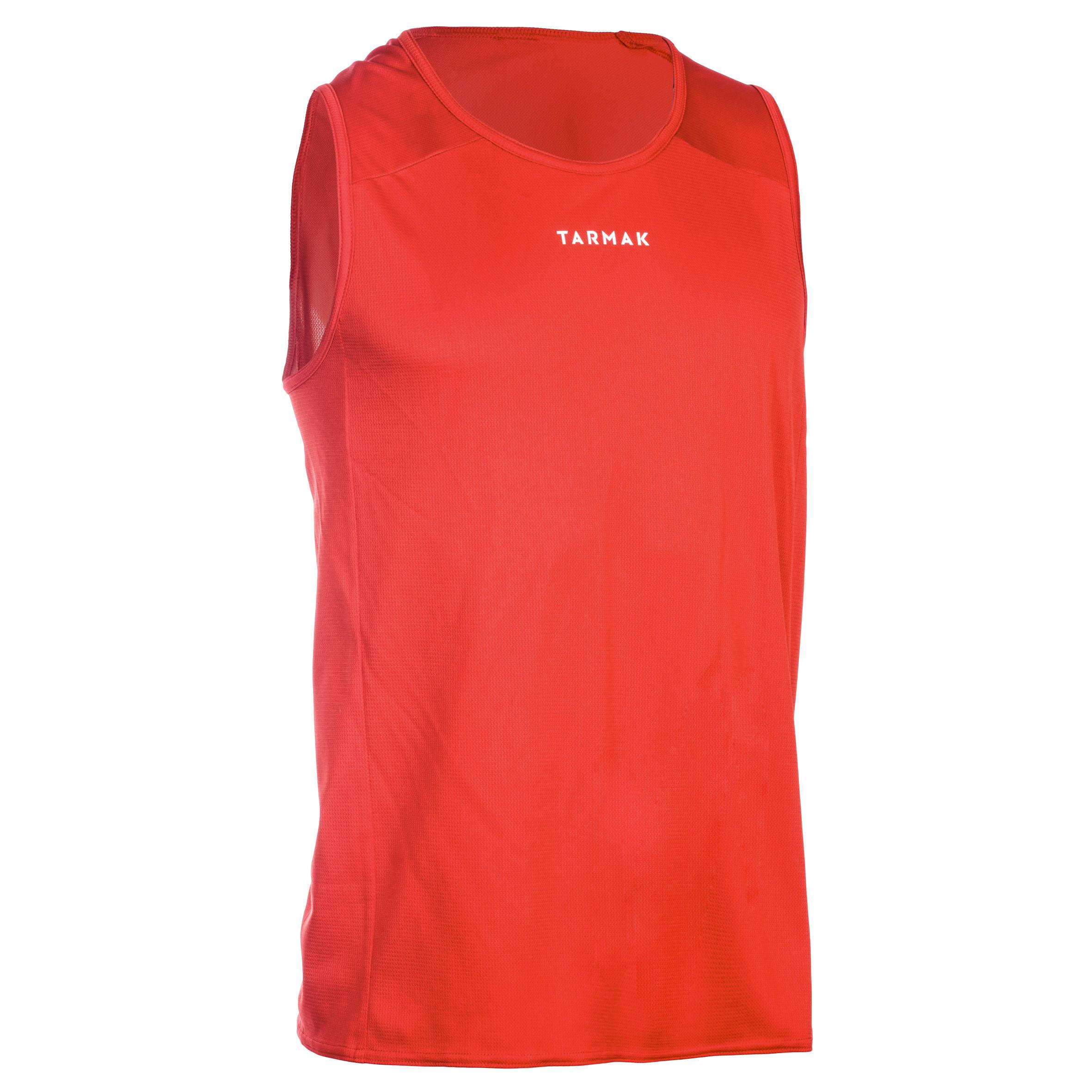 Tarmak Mouwloos basketbalshirt voor beginnende heren/dames T100 rood