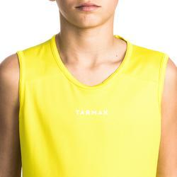 Mouwloos basketbalshirt voor beginnende jongens en meisjes T100 geel