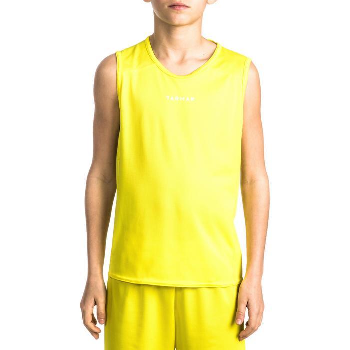 Mouwloos basketbalshirt voor beginnende jongens en meisjes geel T100