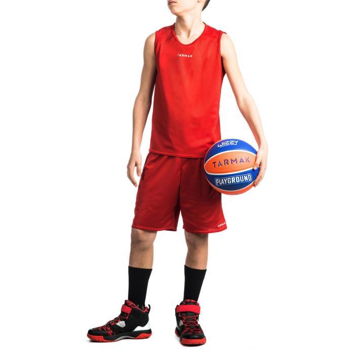 Mouwloos basketbalshirt T100 voor beginnende jongens en meisjes rood