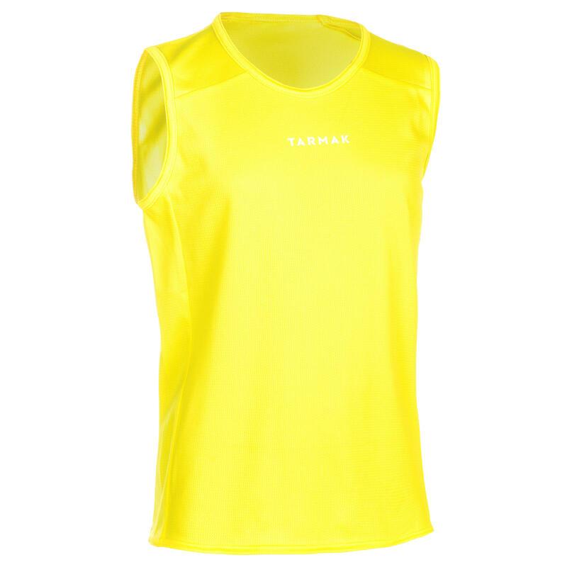 Mouwloos basketbalshirt voor beginnende jongens/meisjes geel T100