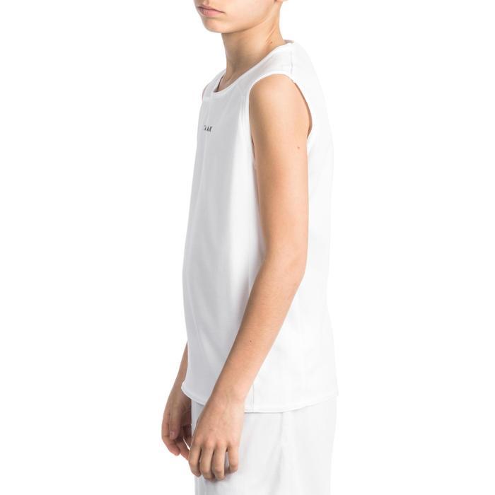 Mouwloos basketbalshirt T100 voor beginnende jongens en meisjes wit
