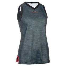 Basketbalshirt B500 voor halfgevorderde dames marineblauw gemêleerd