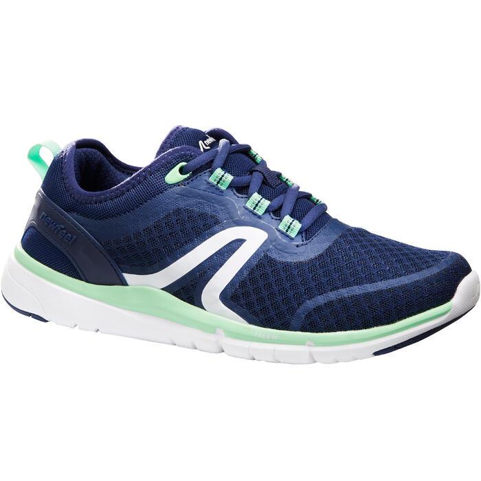 Damessneakers sportief wandelen Soft 540 mesh marineblauw/groen