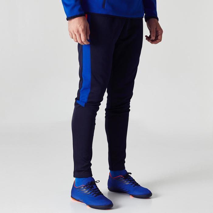 Pantalón Entrenamiento Fútbol Kipsta T500 Niños Negro Azul