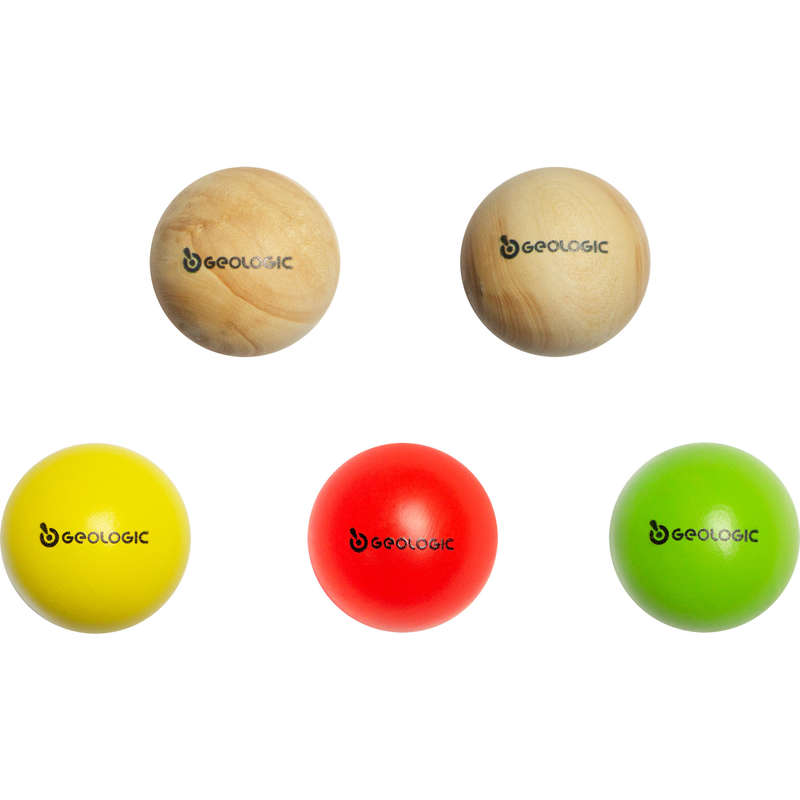 PETANQUE ACCESSORIES Boules and Petanque - Set of 5 GEOLOGIC cochonnet boules jacks GEOLOGIC - Boules and Petanque GREEN
