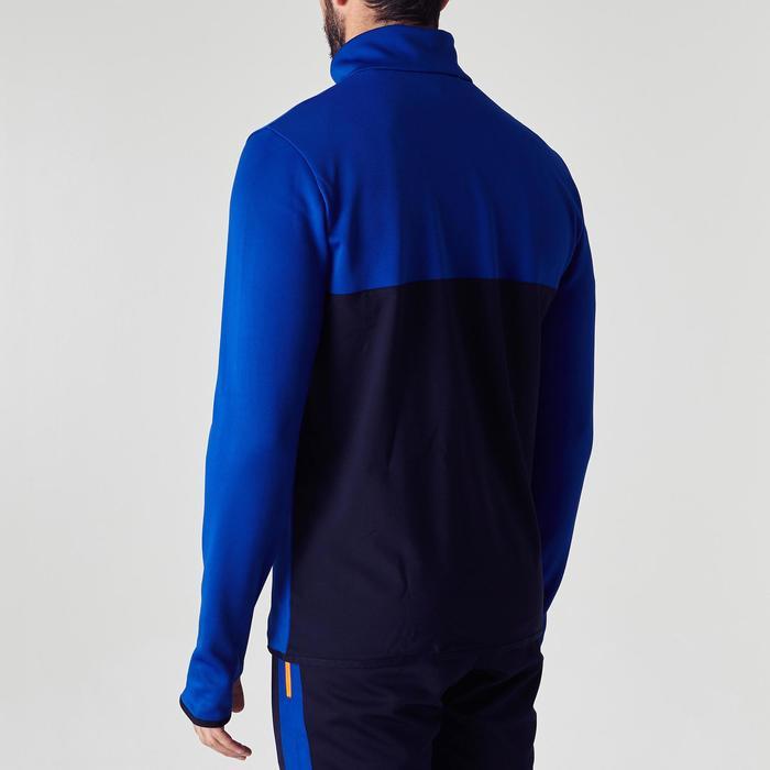 Sweater met halve rits voor voetbal kinderen T500 blauw/vermiljoenrood