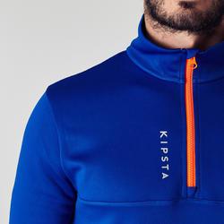T500 Kids' Soccer Half-Zipper Training Sweatshirt - Blue/Vermilion Red