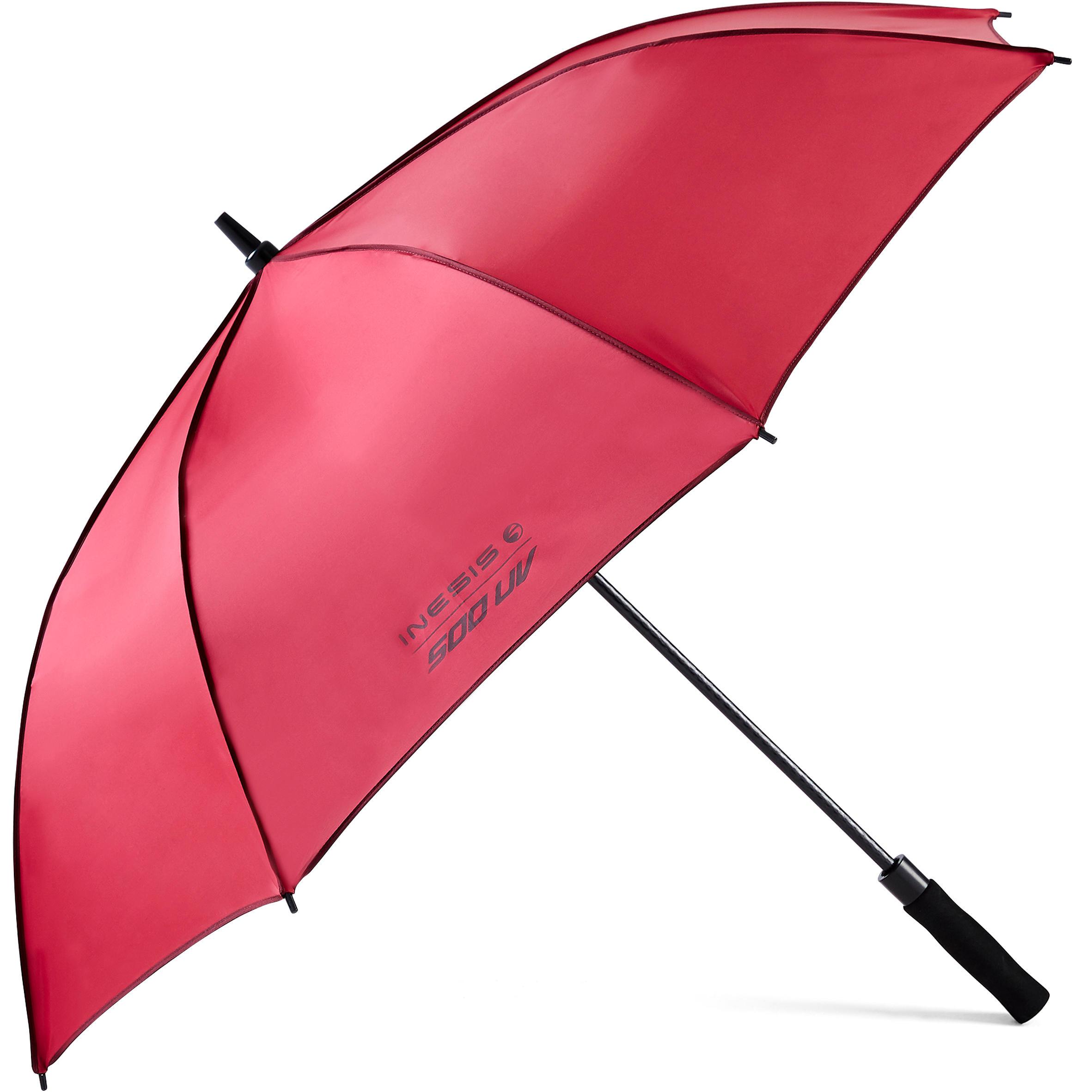 Regenschirm Golf 500 UV-Schutz | Accessoires > Regenschirme | Rot - Rosa - Bordeaux | Inesis