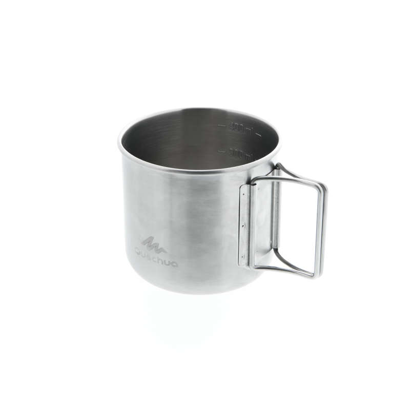 HIKING CAMP STOVES, COOKSETS, CARTRIDGES Camping - StainlessSteel Cup MH150(0.4L) QUECHUA - Camping Cooking Equipment
