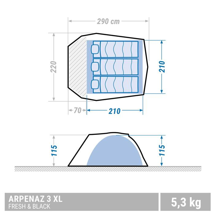 ARPENAZ 3 XL FRESH & BLACK camping tent | 3 persons white - 1488009
