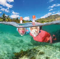 Masque plongée avec tuba en surface Easybreath corail