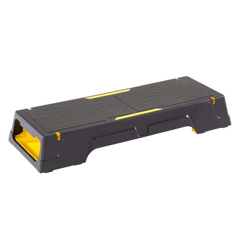Plataforma Step Cardio Fitness Domyos Comfort negro amarillo