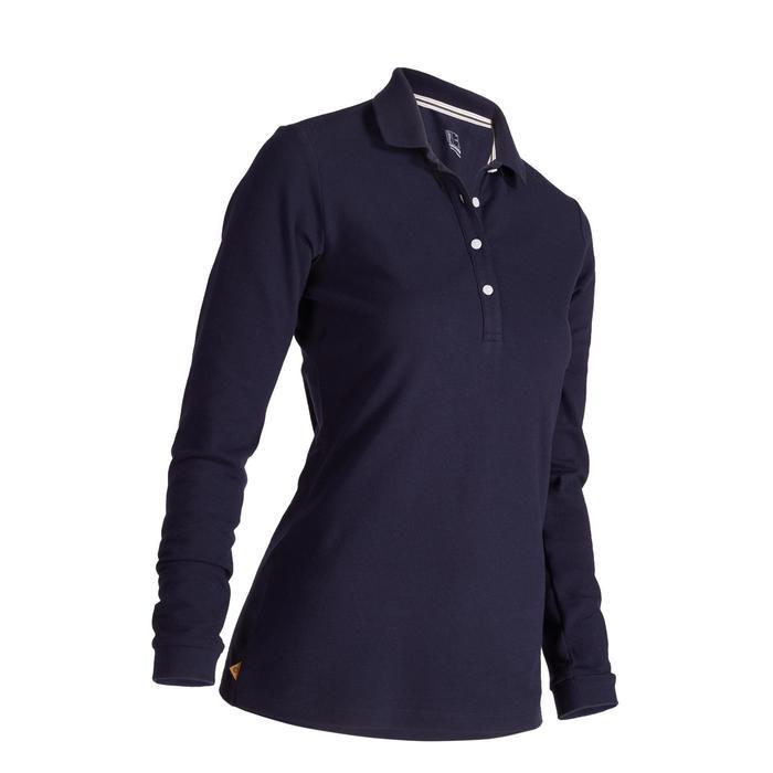 Golfpolo met lange mouwen voor dames zacht weer marineblauw