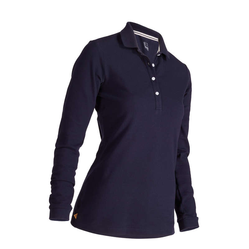 WOMENS MILD WEATHER GOLF CLOTHING Golf - W MW LS Polo Shirt - Navy INESIS - Golf Clothing