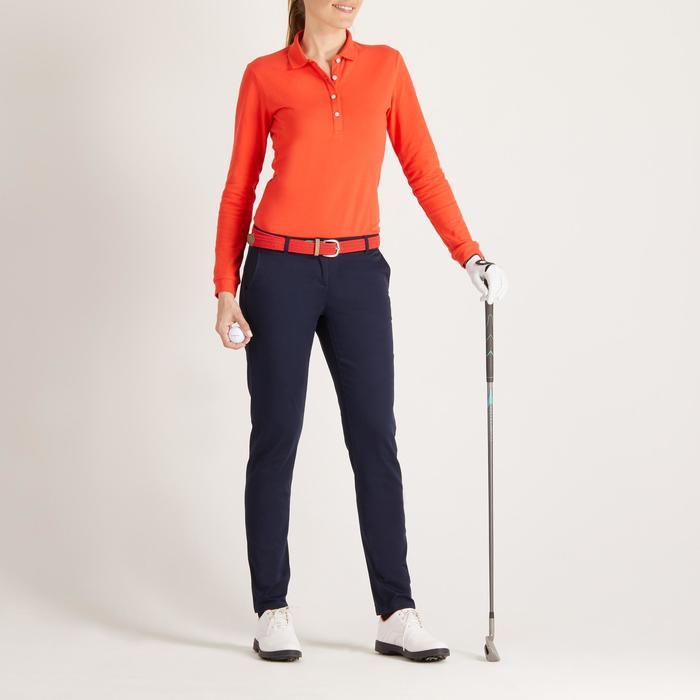 Golfpolo met lange mouwen voor dames zacht weer rood