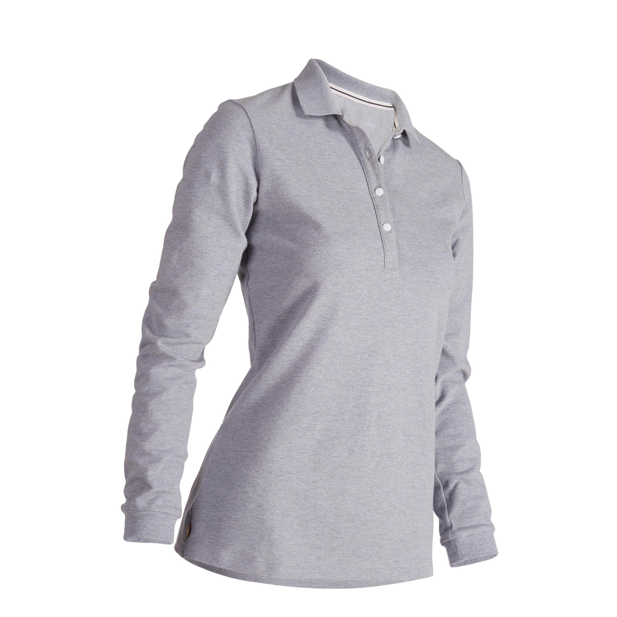 500 Women's Golf Long-Sleeved Polo - Heather Grey