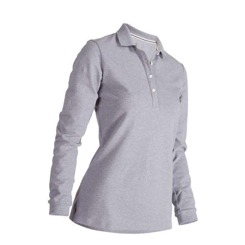 WOMENS MILD WEATHER GOLF CLOTHING Golf - W MW LS Polo Shirt HeatherGrey INESIS - Golf Clothing