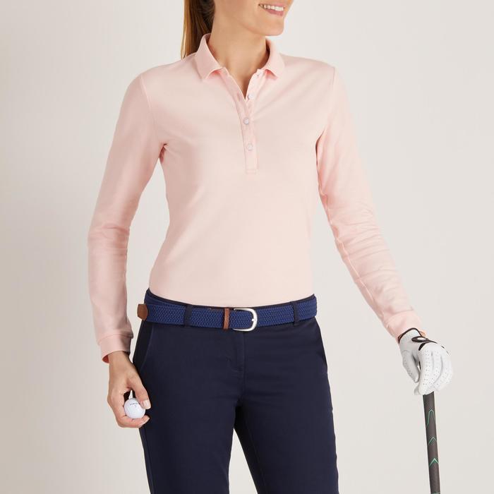 Golfpolo met lange mouwen voor dames zacht weer lichtroze