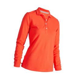 Polohemd 500 Langarm Golf Damen himbeer