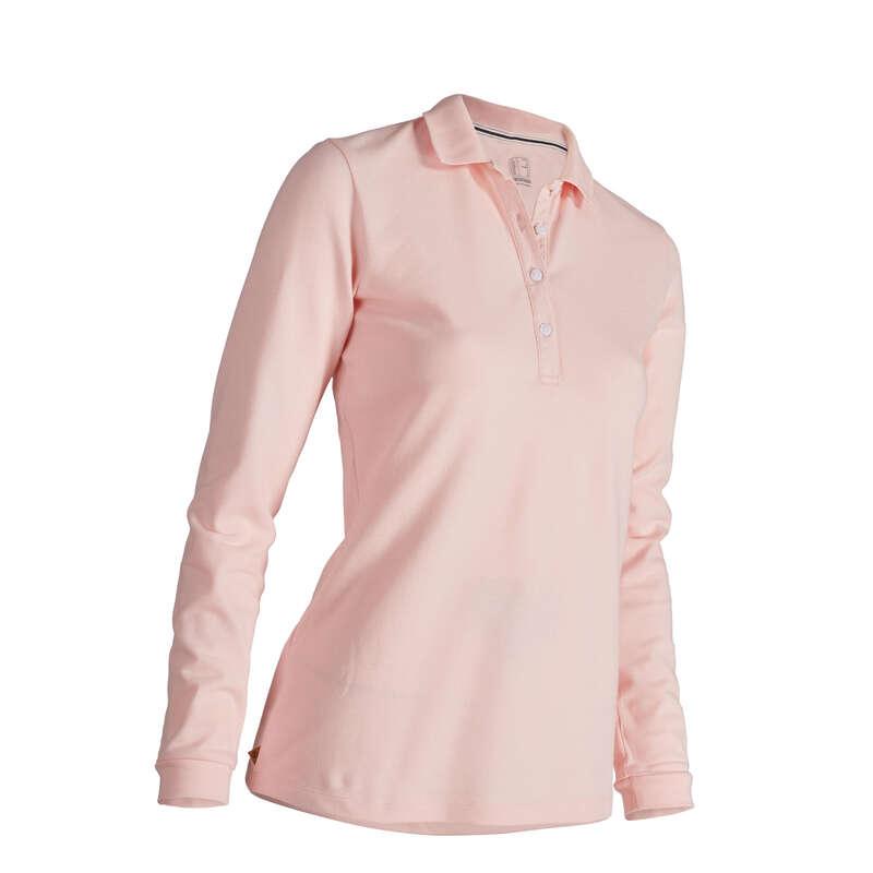 WOMENS MILD WEATHER GOLF CLOTHING Golf - W MW LS Polo Shirt - Pink INESIS - Golf Clothing
