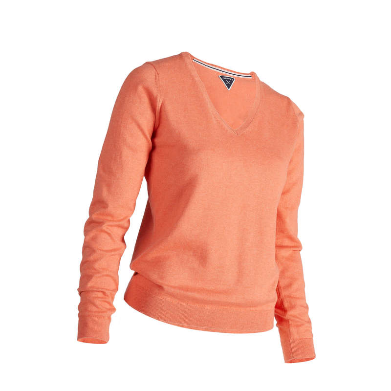 WOMENS MILD WEATHER GOLF CLOTHING Golf - W MW Pullover - Orange INESIS - Golf Clothing