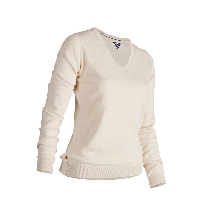 Women's golf V-neck pullover MW500 ecru